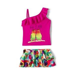 Girls Slim Skirted Tankini Swimsuit Set