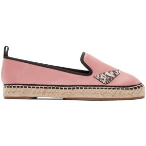 Fendi: Pink Leather Bug Eyes Espadrilles | SSENSE
