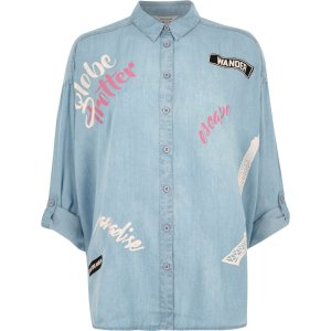 Light blue 'globe trotter' print denim shirt - shirts - tops - women