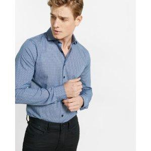 Slim Fit Printed Cotton Shirt   Express