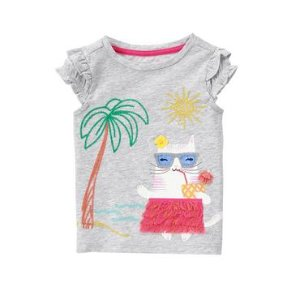 Toddler Girls Heather Grey Hula Cat Tee by Gymboree