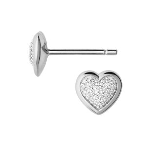 Diamond Essentials Sterling Silver & Pave Heart Stud Earrings