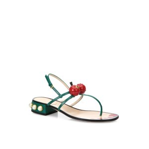 Hatsumomo Cherry Leather Thong Sandals by Gucci