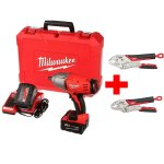 M18 18-Volt Cordless High-Torque Impact Wrench with Friction Ring Kit and 2 Batteries