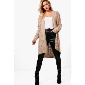 Maya Slouchy Cable Knit Cardigan | Boohoo