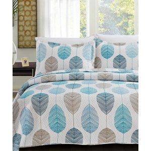 Blue & Beige Leaves Florence Quilt Set