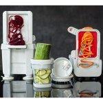 Paderno World Cuisine Folding Spiral Vegetable Slicer / Countertop-Mounted Plastic Spiralizer Pro incl. 4 Different Blades
