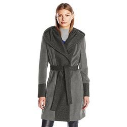 $40.86 Calvin Klein Women's Wool Wrap Coat with Detachable Belt and Oversized Collar