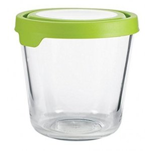 Anchor Hocking 7 Cup Tall Round Kitchen Food Storage with Green True Seal Lid