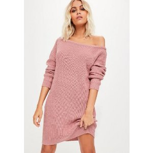 Missguided - Pink Off Shoulder Sweater Dress