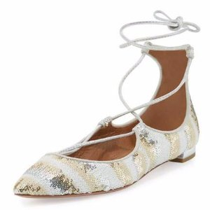 Aquazzura Christy Sequined Lace-Up Pointed-Toe Flat, Beige