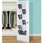 24 Pockets Hippih Over The Door Shoe Organizer Transparent PVC Storage Bag