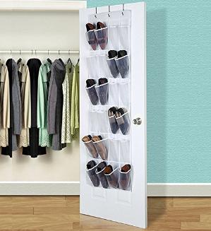 24 Pockets Hippih Over The Door Shoe Organizer Transparent PVC Storage Bag
