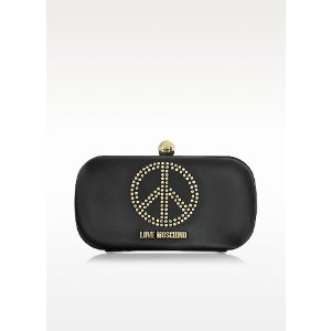 Love Moschino Black Satin Pouch at FORZIERI