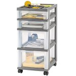 IRIS 4-Drawer Storage Cart with Organizer Top, Gray
