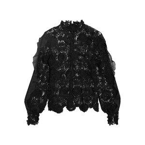 Self-Portrait   Naia chiffon-trimmed guipure lace blouse