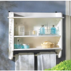 White Slatted Bathroom Wall Shelf - Beach Style - Bathroom Cabinets And Shelves - by AGM Home Store