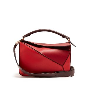 Puzzle contrast-panel leather bag