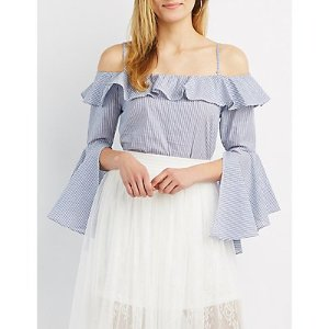 Striped Convertible Cold Shoulder Top | Charlotte Russe