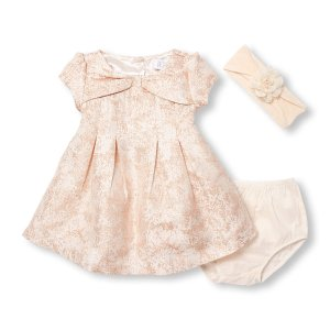 Baby Girls Cap Sleeve Metallic Brocade Bow Dress Flower Headwrap And Bloomers Set | The Children's Place