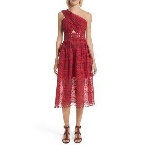 Cutout One-Shoulder Midi Dress