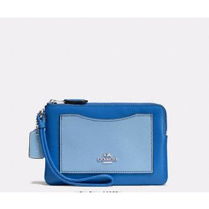 Boxed Small Wristlet In Colorblock Leather