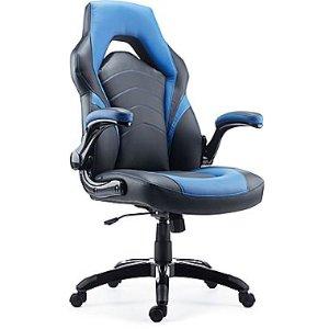 $99.99黒五价:Staples 赛车风格电竞椅 黑蓝配色