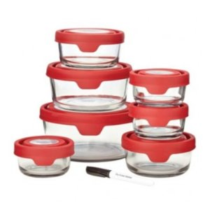 Anchor Hocking 15pc Premium Trueseal Red Storage Set