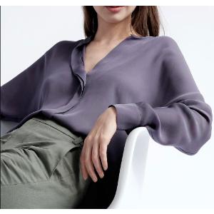 Vince - Long Sleeve Double Front Silk Blouse - saks.com