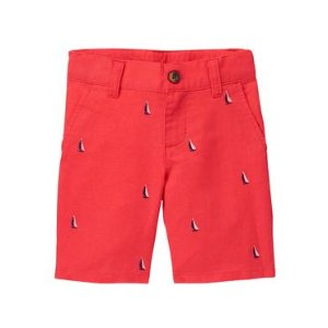 Baby Boy Candy Red Boat Linen Short at JanieandJack