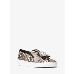 Michelle Embossed-leather Slip-on Sneaker