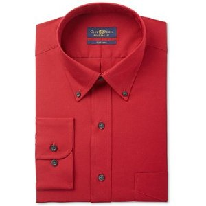 Club Room Men's Estate Big and Tall Classic/Regular Fit Wrinkle Resistant Claret Solid Dress Shirt, Only at Macy's - Dress Shirts - Men - Macy's