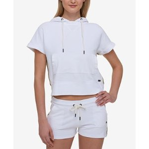 Tommy Hilfiger Cropped Short-Sleeve Hoodie, Only at Macy's - Tops - Women - Macy's