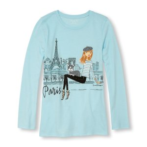 Girls Long Sleeve Glitter 'Paris' Fashionista Graphic Tee | The Children's Place