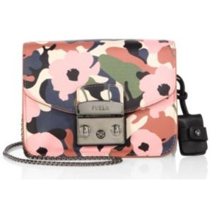 Furla Metropolis Mini Flower-Print Leather Crossbody Bag