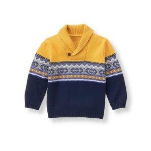 Honey Yellow Fair Isle Sweater at JanieandJack