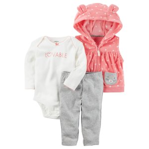 Carter's Infant Girls' Bodysuit, Fleece Vest & Pants - Lovable - Clothing - Baby Clothing - Baby Collections & Sets