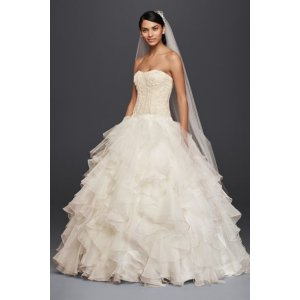 Oleg Cassini Strapless Ruffled Skirt Wedding Dress - Davids Bridal