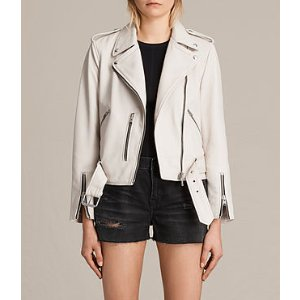 ALLSAINTS US: Womens Balfern Leather Biker Jacket (White)