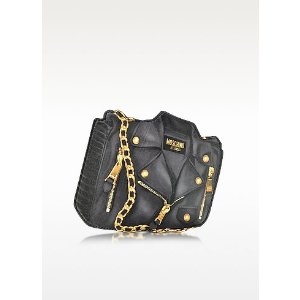 Moschino Black Biker Jacket Printed Leather Clutch at FORZIERI