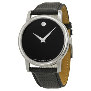 Museum Black Dial Black Leather Strap Men's Watch