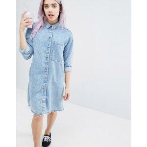 Monki | Monki Acid Wash Shirt Dress