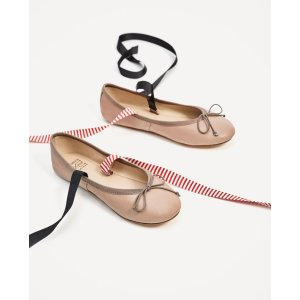 LEATHER BALLERINAS WITH INTERCHANGEABLE BOWS - View all-SHOES-WOMAN | ZARA United States