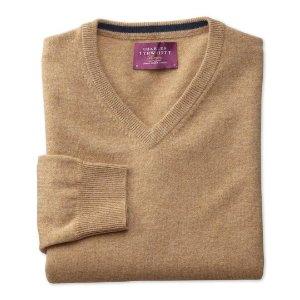 Tan cashmere v-neck sweater