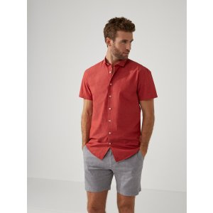 Short-Sleeve Summer-Weight Cotton Shirt in Lava   Frank And Oak