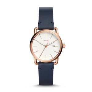 The Commuter Three-Hand Date Navy Leather Watch