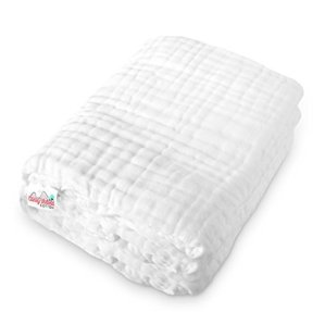 $12Coney Island Cotton White Muslin 6 Layer Multi Use Blanket Or Baby Towel Natural Antibacterial Large 45