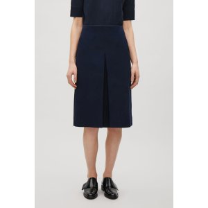 Front pleat twill skirt - Navy - Sale - COS US