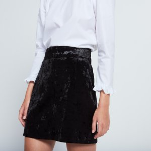 Skirt In Shiny Textured Fabric