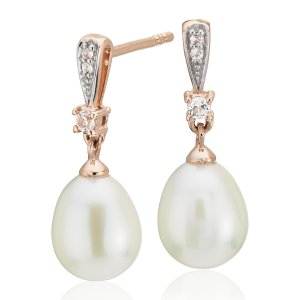 Freshwater Cultured Pearl and White Topaz Earrings in 14k Rose Gold (7mm) | Blue Nile